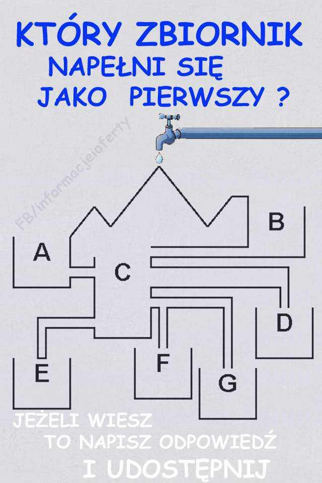 Który zbiornik napełni się jako pierwszy. Zagadka zbiorniki Oto Zagadka zbiorniki: Czy wiesz który zbiornik wypełni się jako pierwszy? A,B,C,D,E,F,G ? Pamiętaj o zasadzie naczyń połączonych.